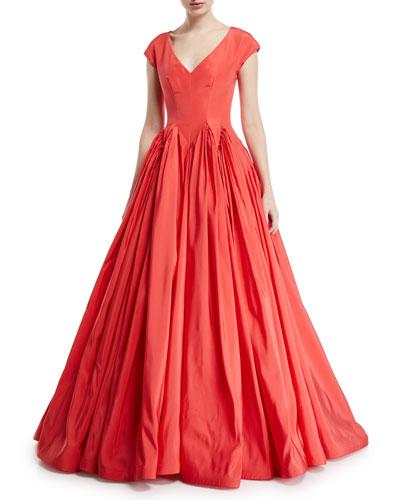 V-Neck Silk -Faille Full-Skirt Ball Gown