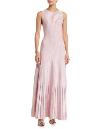Knit-Striped Tulle-Trim Illusion Gown