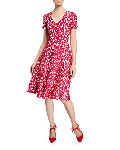 Zac Posen Dresses KNIT FLORAL CAP-SLEEVE DRESS