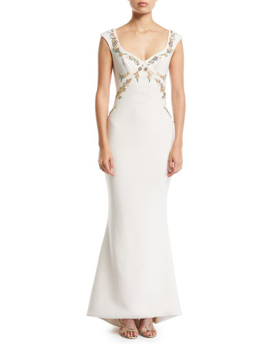 Bonded Crepe Embroidered Gown