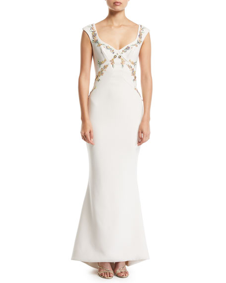 Zac Posen Bonded Crepe Embroidered Gown