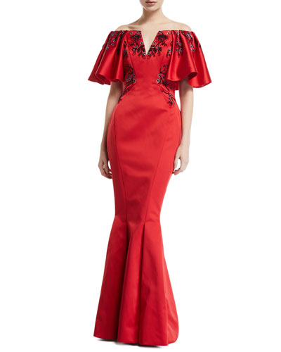 Off-the-Shoulder Embroidered Slit Gown