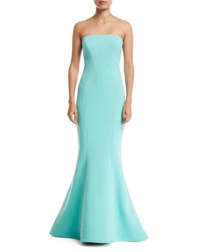 Zac Posen Strapless Crepe Mermaid Gown