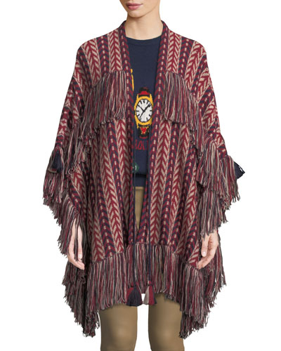 Fringe-Trim Open Front Shawl