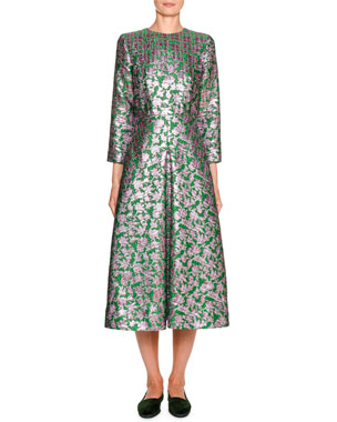 1bdb50fa6b2 Double J Little Miss Floral Jacquard 3 4-Sleeve Midi Dress