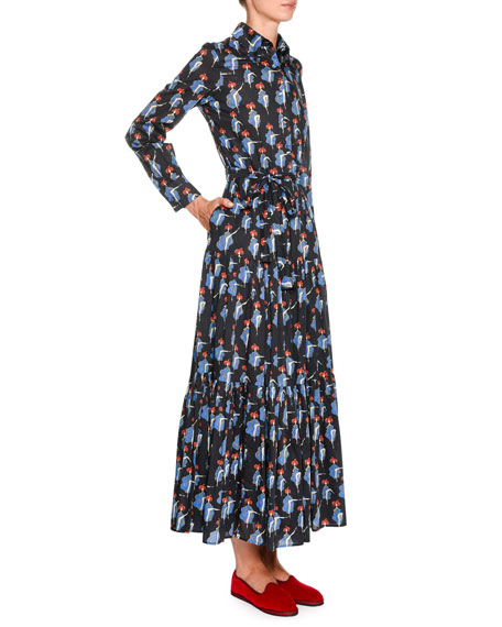 Double J Bellini Button-Front Long-Sleeve Can Can-Print Cotton Shirtdress