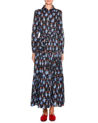 Bellini Button-Front Long-Sleeve Can Can-Print Cotton Shirtdress