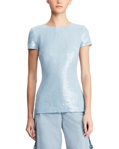 Adreanna Short-Sleeve Beaded Sequin Top