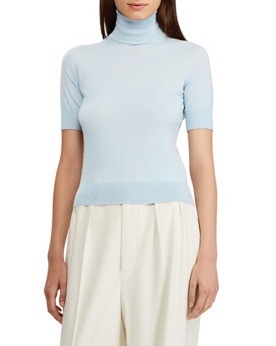 Cashmere Jersey Turtleneck Short-Sleeve Sweater