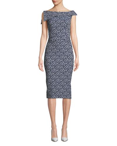 Sleeveless Jacquard Bodycon Dress