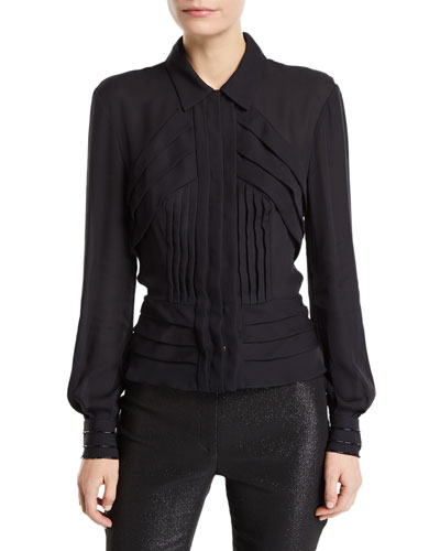 Pleated Button-Front Blouse
