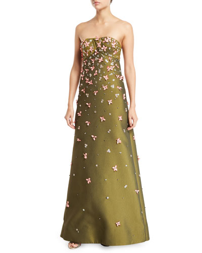 Strapless A-line Embroidered Gown