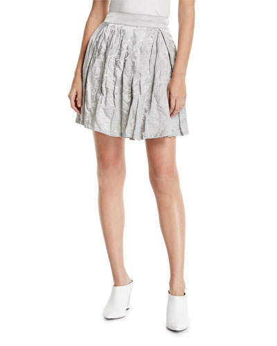 Pleated Crinkled-Cotton Skirt