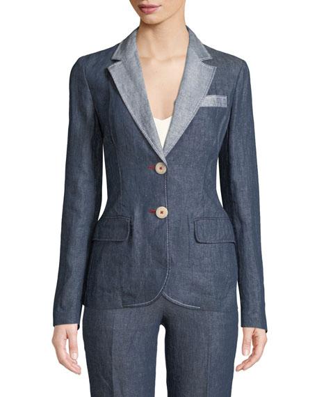 Emporio Armani Linen-Denim Two-Button Blazer