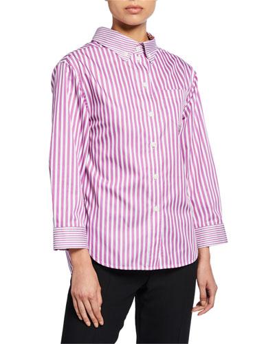 Striped High-Low Button-Down Blouse