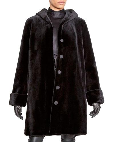 Reversible Sheared Mink Fur Hooded Coat