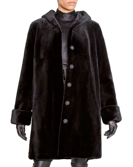 NORMAN AMBROSE Reversible Sheared Mink Fur Hooded Coat in Black
