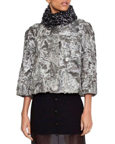 3/4 Sleeve Swakara Fur Jacket with Kalgan Lamb Collar
