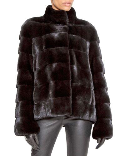 Horizontal-Quilted Mink Fur Swing Jacket