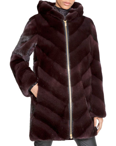 Chevron-Quilted Hooded Fur Zip Parka