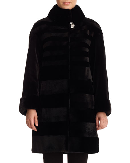 Gorski Furs Diagonal Sheared Mink Fur Stroller Coat