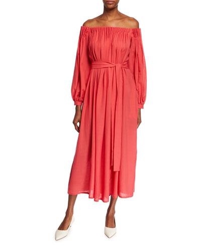 Otalora Off-The-Shoulder Long-Sleeve Wool/Cashmere Gauze Dress