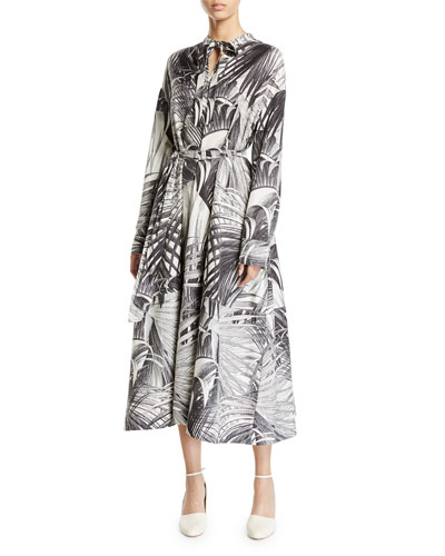 Long-Sleeve Palm Print Tie Neck Dress