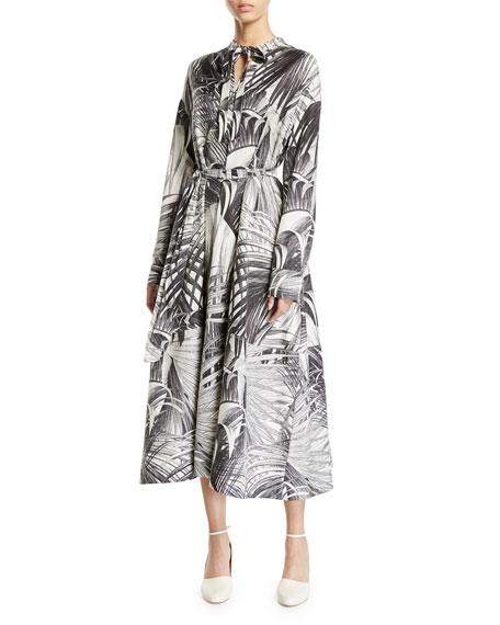 Co Long-Sleeve Palm Print Tie Neck Dress