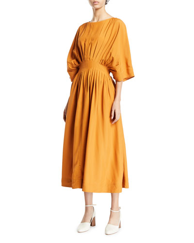 1/2-Sleeve Pleated Midi Dress