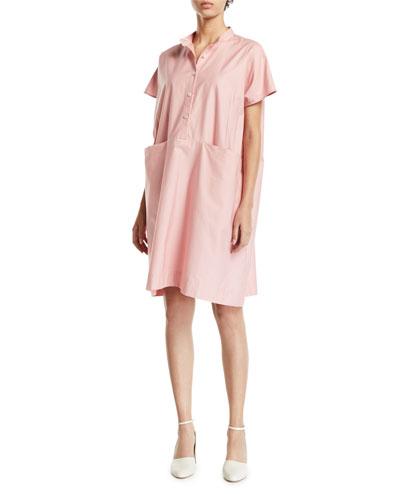 Short-Sleeve Poplin Mini Shirtdress