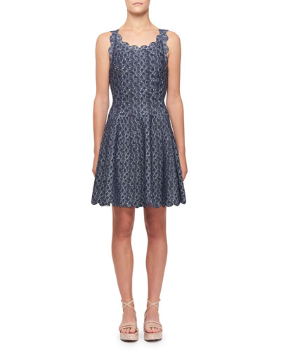 Camee Scallop-Trimmed Short-Sleeve Dress
