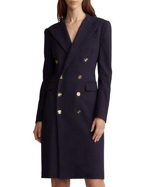 Ralph Lauren Collection Wellesley Double Ted Wool Coat Dress