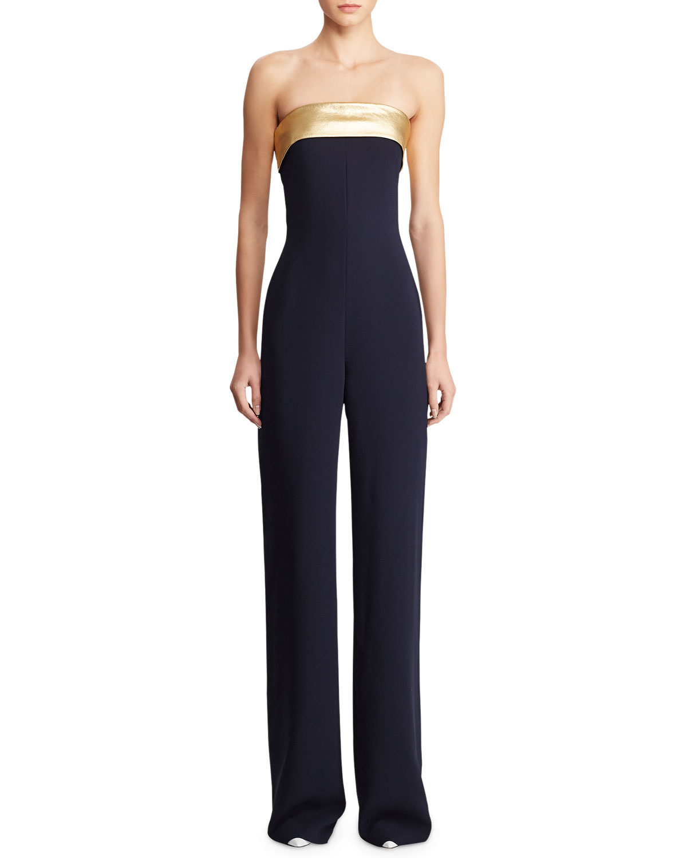 c8bec445c687 Ralph Lauren Collection Francesca Crepe Cady Strapless Jumpsuit ...