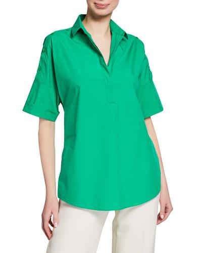Cotton Kimono Style Button-Shoulder Blouse