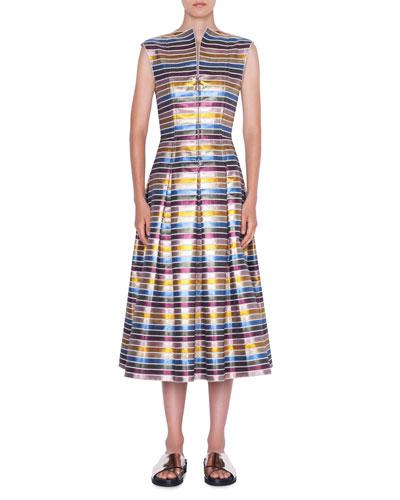 Striped Metallic Cotton Zip-Front Dress