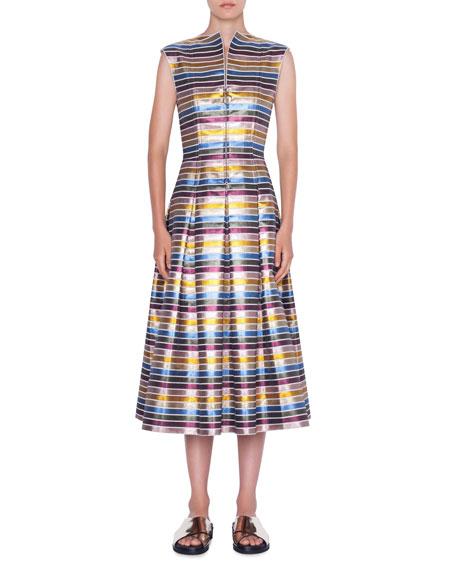 Akris Punto Dresses STRIPED METALLIC COTTON ZIP-FRONT DRESS