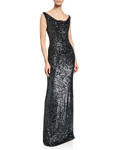 Sequin Cowl-Neck Gown