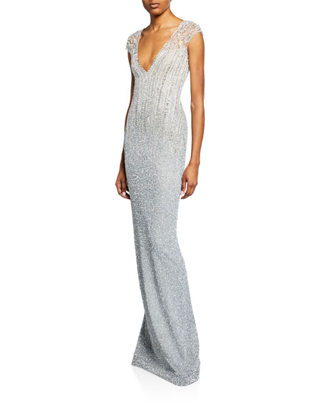 Pamella Roland  OMBRE SEQUINED V-NECK GOWN