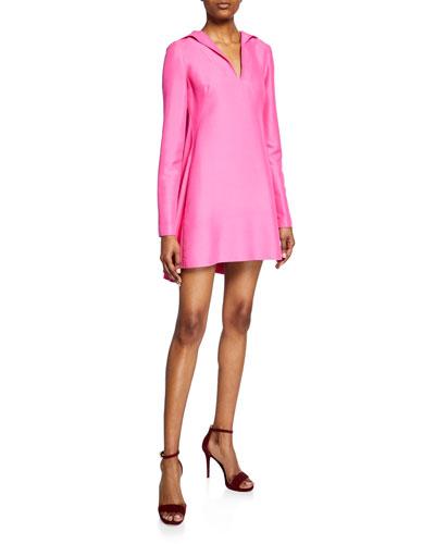 Long-Sleeve V-Neck Faille Dress
