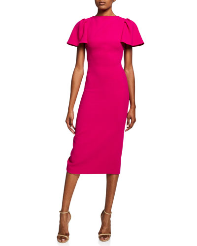 Ruffle-Sleeve Wool Midi Cocktail Dress