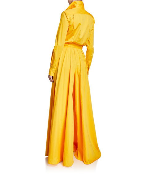 Brandon Maxwell Long-Sleeve Button-Front Wide Leg Jumpsuit