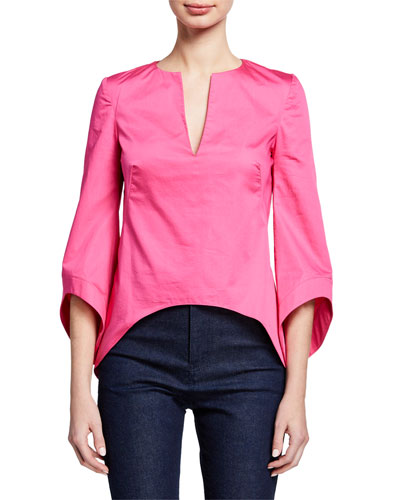 3/4-Sleeve V-Neck Shirting Blouse