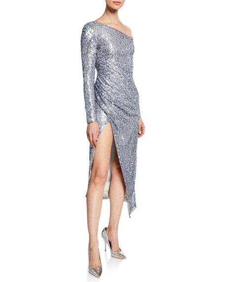 Galvan MAMMOUNIA SEQUINED ONE-SHOULDER HIGH-SLIT DRESS
