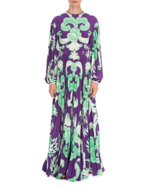 ceacffaed Valentino Arras Long-Sleeve Plisse Crepe de Chine Gown