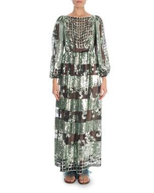 a48769bd8b Valentino 3 4-Sleeve Sequin Embroidered Cage Organza Gown