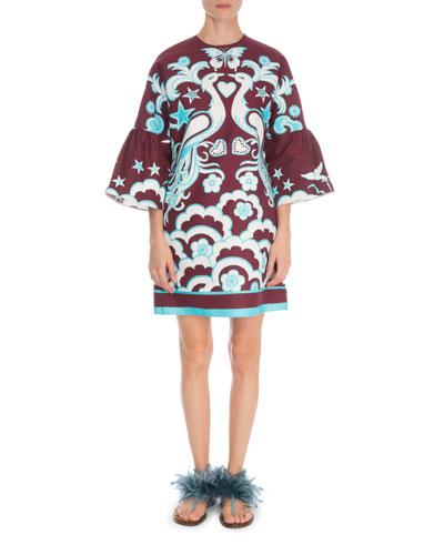 3/4-Sleeve Fenice Print Cady Dress