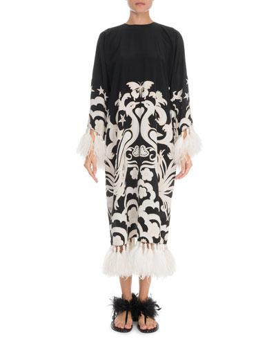 Fenice Long-Sleeve Crepe de Chine Feather Trim Dress