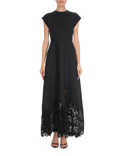 Short-Sleeve Crepe Couture Macrame-Hem Gown