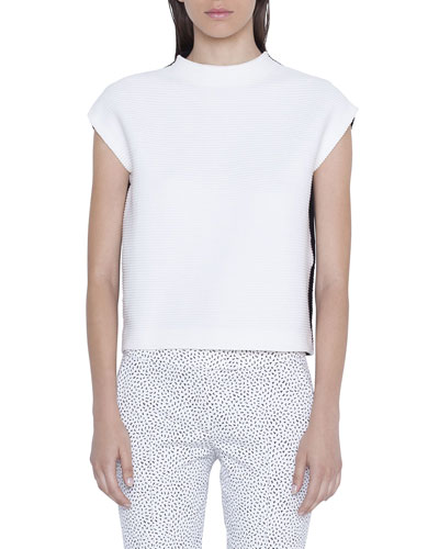 Mock-Neck Bicolor Cap-Sleeve Shirt