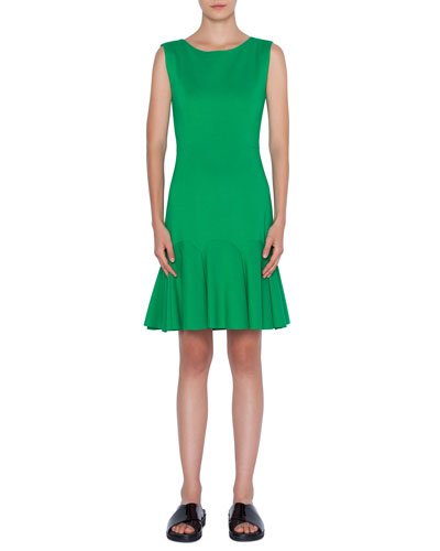 Sleeveless Drop-Waist Crepe Dress